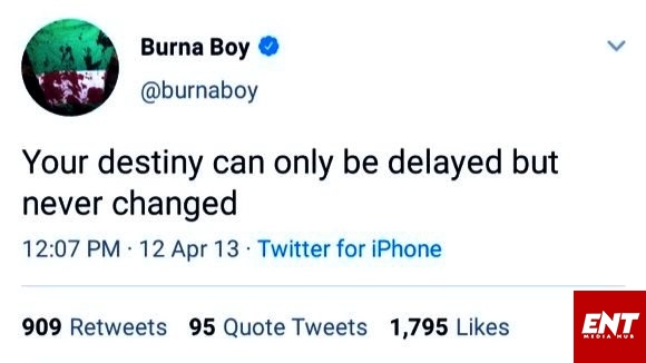 Burna Boy's 2013 tweet