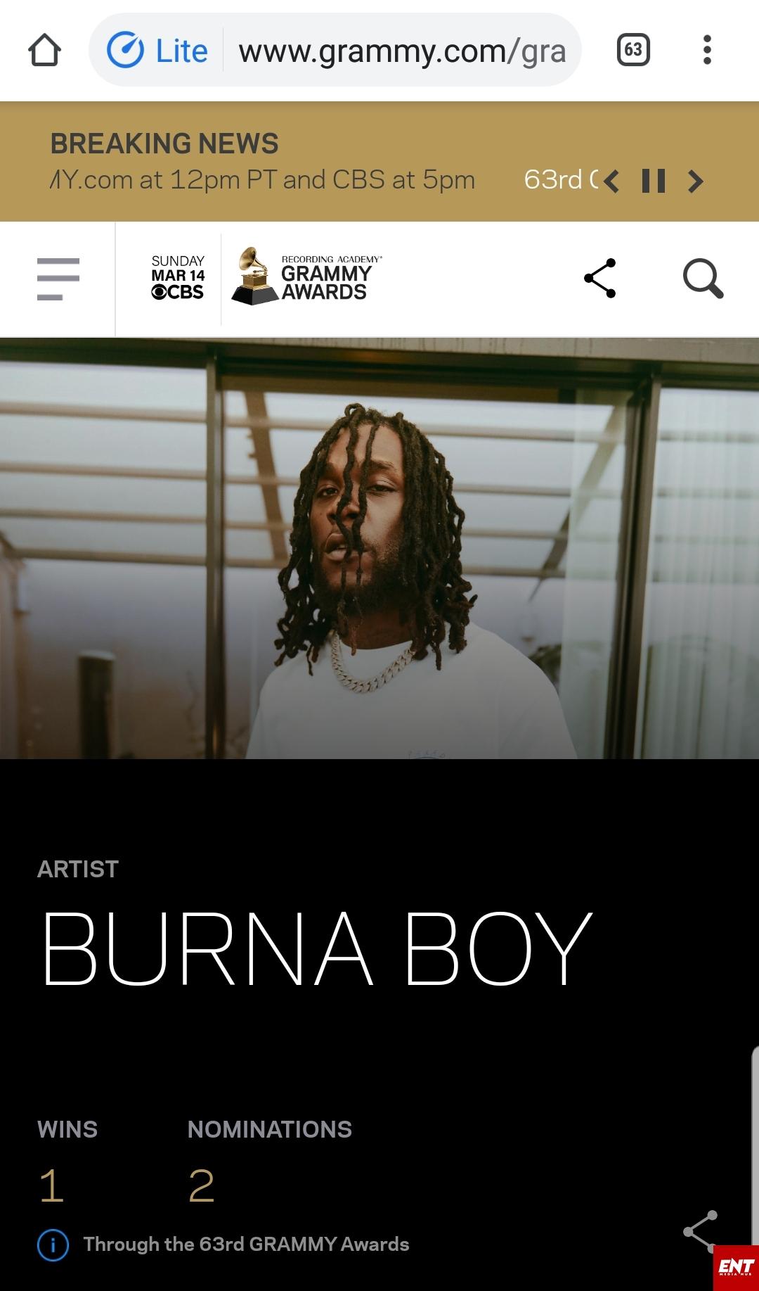 Burna Boy's #Grammy